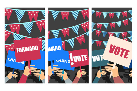 voters: Election campaign, election vote, election poster, holding posters, election banner, supporting team, voters support, people with placards. Vector.