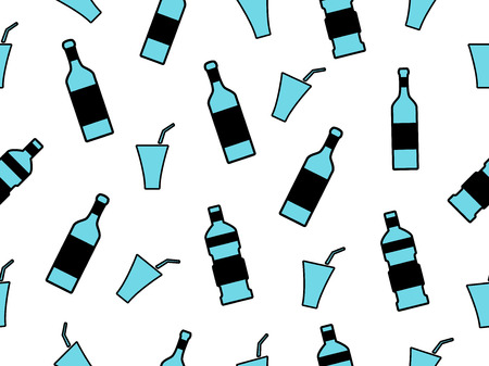 chardonnay: Seamless pattern with bottles on a white background. Bottles with a stroke. Vector illustration.
