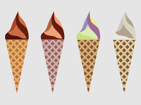 waffle ice cream: Ice cream cone isolated, ice cream sundae, kinds of ice cream, chocolate ice cream cone. Illustration