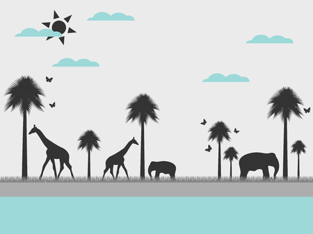 reserve: Reserve, landscape with animals, environment day. Wild nature. Vector.