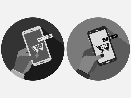 hand holding phone: Hand holding phone. Online shopping, buy now online. Business by smartphone. E-commerce vector.