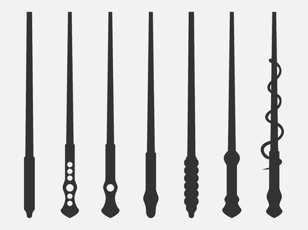 Magic wands. Magic and magical objects. Wizard tool. Isolated on white background. Vector illustration.