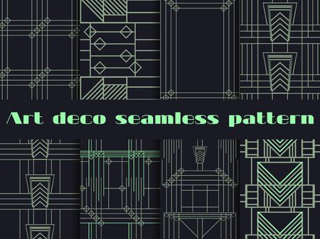 30s: Art deco seamless patterns. Art deco geometric seamless pattern. Set retro  backgrounds. Style 1920s, 1930s. Illustration