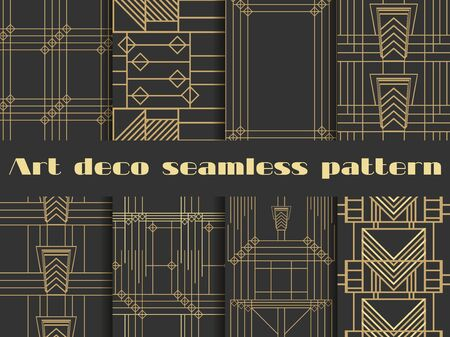 Art deco seamless patterns. Art deco geometric seamless pattern. Set retro  backgrounds. Style 1920s, 1930s. Illustration