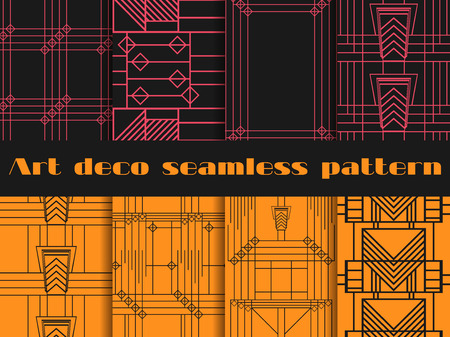 thirties: Art deco seamless patterns. Art deco geometric seamless pattern. Set retro  backgrounds. Style 1920s, 1930s. Illustration