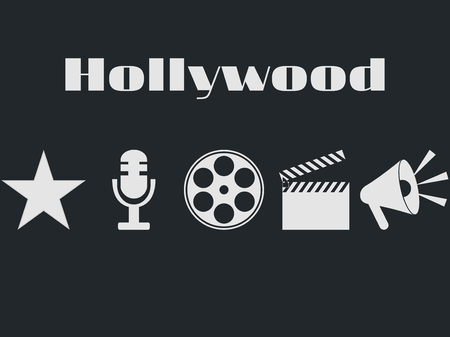 poppers: Set of movie design elements and cinema icons.   Film reel, movie clapper, microphone. Illustration