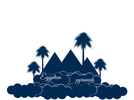 cheops: Egyptian pyramids isolated on white background. Egyptian pyramids in the clouds. The symbol of Egypt.
