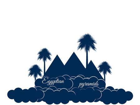 chephren: Egyptian pyramids isolated on white background. Egyptian pyramids in the clouds. The symbol of Egypt.