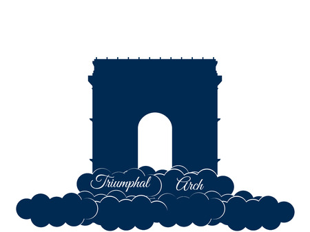 triumphal: Triumphal Arch isolated on white background. Triumphal Arch in the clouds. Sights of Paris and France.