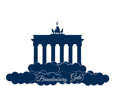Brandenburger gate isolated on white background. Brandenburger tor in the clouds. The symbol of Berlin and Germany. Vector Illustration