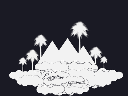 egyptian pyramids: Egyptian pyramids isolated on black background. Egyptian pyramids in the clouds. The symbol of Egypt. Illustration