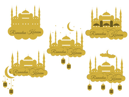 holiday lights: Emblems for islamic holiday Ramadan. Ramadan Kareem, blue mosque, minaret, lantern and moon, muslim holiday lights. Set isolation banners.