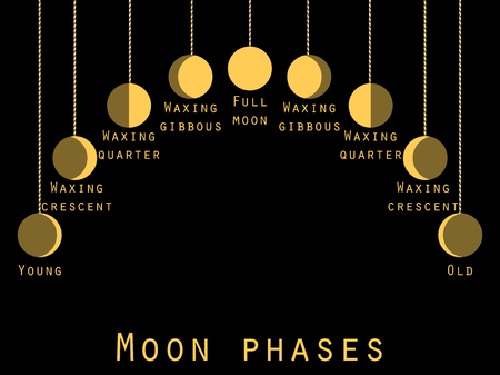 waxing: The phases of the moon. Lunar phase. Moon stages. Vector illustration.