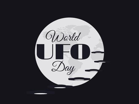 platillo volador: Día Mundial OVNI, el planeta y la nave espacial. platillo volante. UFO icono ilustración vectorial. Vectores