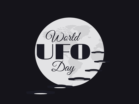 space invader: World UFO Day, planet and spaceship. Flying saucer. UFO icon vector illustration.