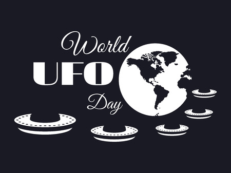 ?flying saucer?: Día Mundial OVNI, el planeta y la nave espacial. platillo volante. UFO icono ilustración vectorial. Vectores