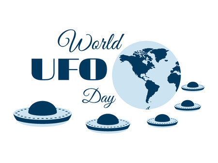 flying saucer: World UFO Day, planet and spaceship. Flying saucer. UFO icon vector illustration.