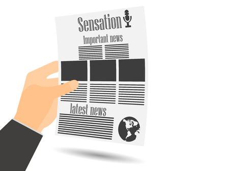 newspaper read: Newspaper in hand. Newspaper template. Important news read in a newspaper. Vector illustration.