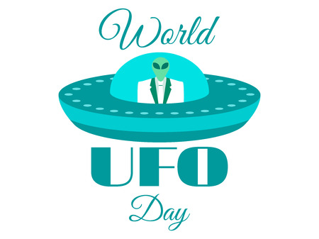 space invader: World UFO Day, the alien in a spaceship. Flying saucer. UFO icon vector illustration.