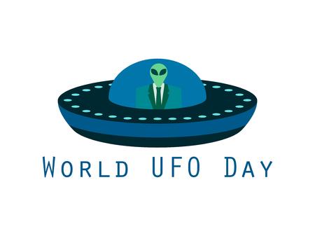 platillo volador: D�a Mundial OVNI, el extranjero en una nave espacial. platillo volante. UFO icono ilustraci�n vectorial. Vectores