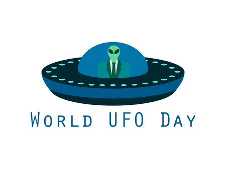 alien world: World UFO Day, the alien in a spaceship. Flying saucer. UFO icon vector illustration.