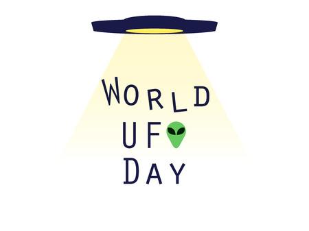 platillo volador: Día Mundial OVNI, OVNI con haz, abducciones alienígenas. platillo volante. UFO icono ilustración vectorial. Vectores