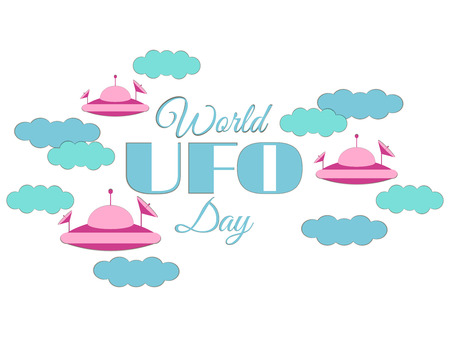 echnology: World UFO Day. Paper clouds and flying saucer UFO in the clouds. Flying saucer. UFO icon vector illustration.