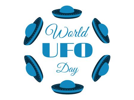 platillo volador: Día Mundial OVNI, el planeta y la nave espacial. platillo volante. Ilustración del vector.