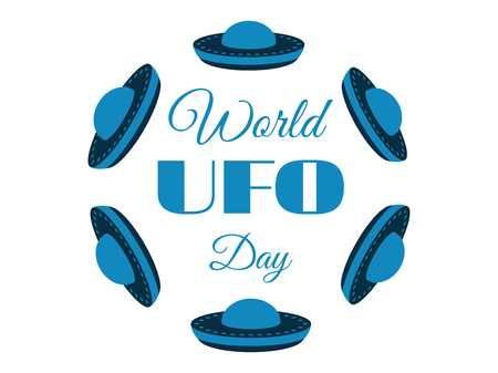 flying saucer: World UFO Day, planet and spaceship. Flying saucer. Vector illustration. Illustration
