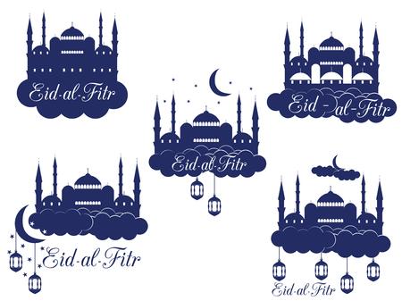 minaret: Ramadan Kareem, mosque, minaret, lantern and moon. Eid al fitr Muslim traditional holiday. Eid Mubarak. Vector.
