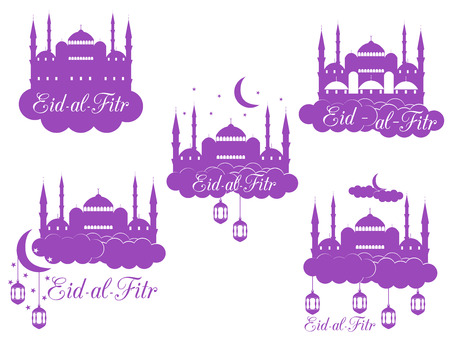 fitr: Ramadan Kareem, mosque, minaret, lantern and moon. Eid al fitr Muslim traditional holiday. Eid Mubarak. Vector.