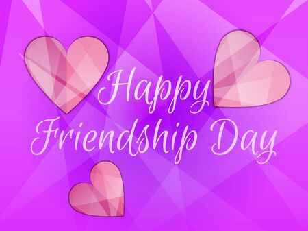 Happy friendship day. Heart with rays of light, beautiful background. Vector illustration.