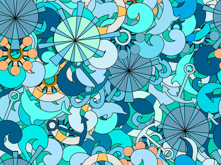 blockhead: Seamless pattern on the marine theme. Hand-drawn doodles waves and objects. Sea vector background.