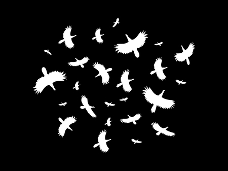 A flock of birds flying in a circle on a black background. Vector illustration. Illustration