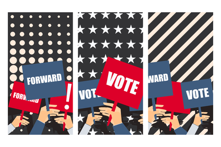placards: Election poster, voters support, people with placards. Vector.