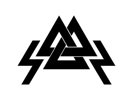 Valknut is a symbol of the worlds end of the tree Yggdrasil. Sign of the god Odin. It refers to the Norse culture. Illustration