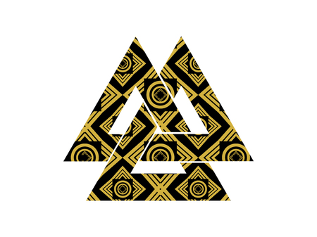 odin: Valknut is a symbol of the worlds end of the tree Yggdrasil. Sign of the god Odin. It refers to the Norse culture. Illustration