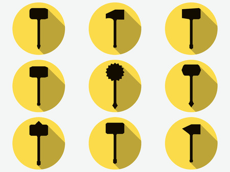 Hammer icons. Labor tools. Set of ancient weapons. Vector illustration. Illustration