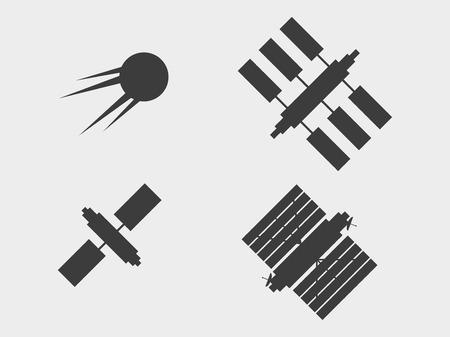 Eine Reihe von Satelliten, Symbole. Raumstation mit Solarkollektoren. Vektor-Illustration.