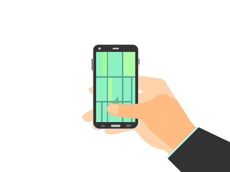 locality: Hand holding mobile phone. GPS navigation, map of the locality enabled on smartphone. Vector illustration.