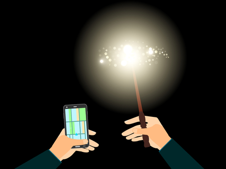 right path: In his left hand phone with navigation, the right magic wand with a bright light illuminates the path. Vector illustration. Illustration