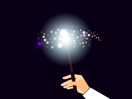 Hand holding a magic wand. Magic bright light with sparks. Vector illustration.