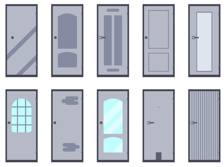 hinge: Flat door isolated on white background. A set of vector icons.