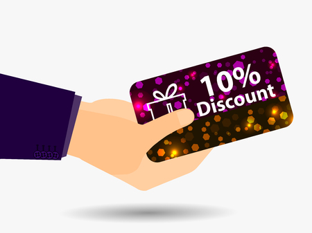 gift spending: Coupon for a 10-percent discount in the hand. Gift card with bright sparks. Vector illustration. Illustration
