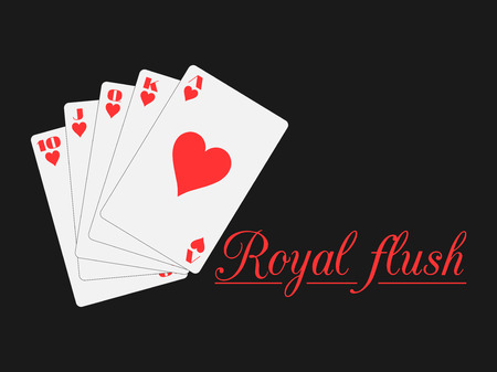 royal flush: Royal flush playing cards, hearts suit. Poker. Vector illustration.