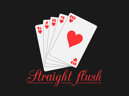 straight flush: Straight flush playing cards, hearts suit. Poker hand. Vector illustration.