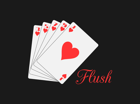 flush: Flush playing cards. Poker hand. Vector illustration.