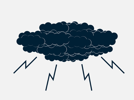 Clouds with lightning thunderstorm. Vector illustration.