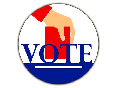 voter registration: Hand with voting ballot. Vote. Vector illustration. Illustration
