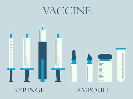 ampules: Syringe and vials. Syringe and ampules. Vaccine. Set icons in line style.